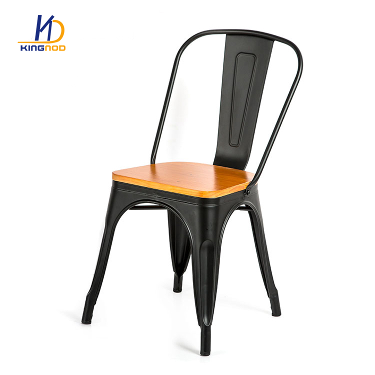 Elegant Design Durable Metal Dining Chair With Wood Seat C