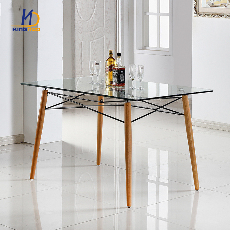Wholesale Dining Tables: Wholesale Rectangle Wood Legs Iron Frame Glass Top Dining
